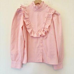 ASOS Long Sleeve Blouse Ruffle Pink Seersucker 041